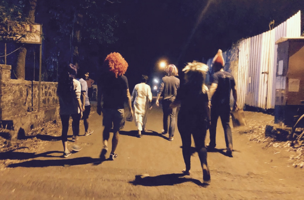 Our team, out for a stroll in Lonavala, in wigs.